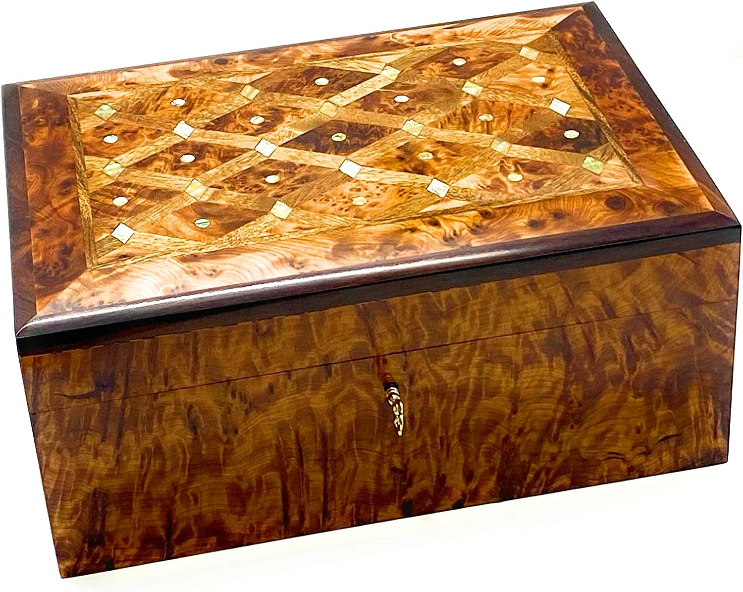 New Jewerly moroccan Box Thuya Wood With 3 Drawers handmade for women best gift for mother/'s day 100/% natural
