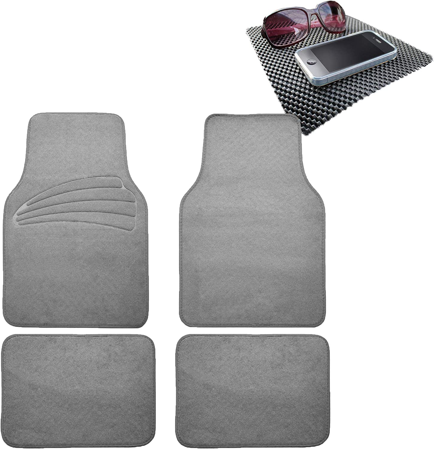 TLH Quality Cover Premium Carpet Car Floor Mats Univesal Fit with Heel Pad, Gray Color w/Black Dash Pad