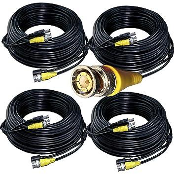 Juego de 4 Cables coaxiales de vídeo HD de 25 Metros con Fuente de ...