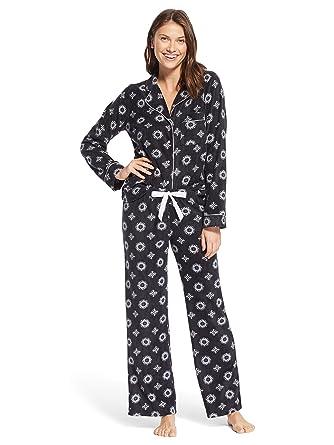 343d7e3ad8 Kathy Ireland Womens Lounge Button Down Pajama Shirt and Pants Set Black  Small