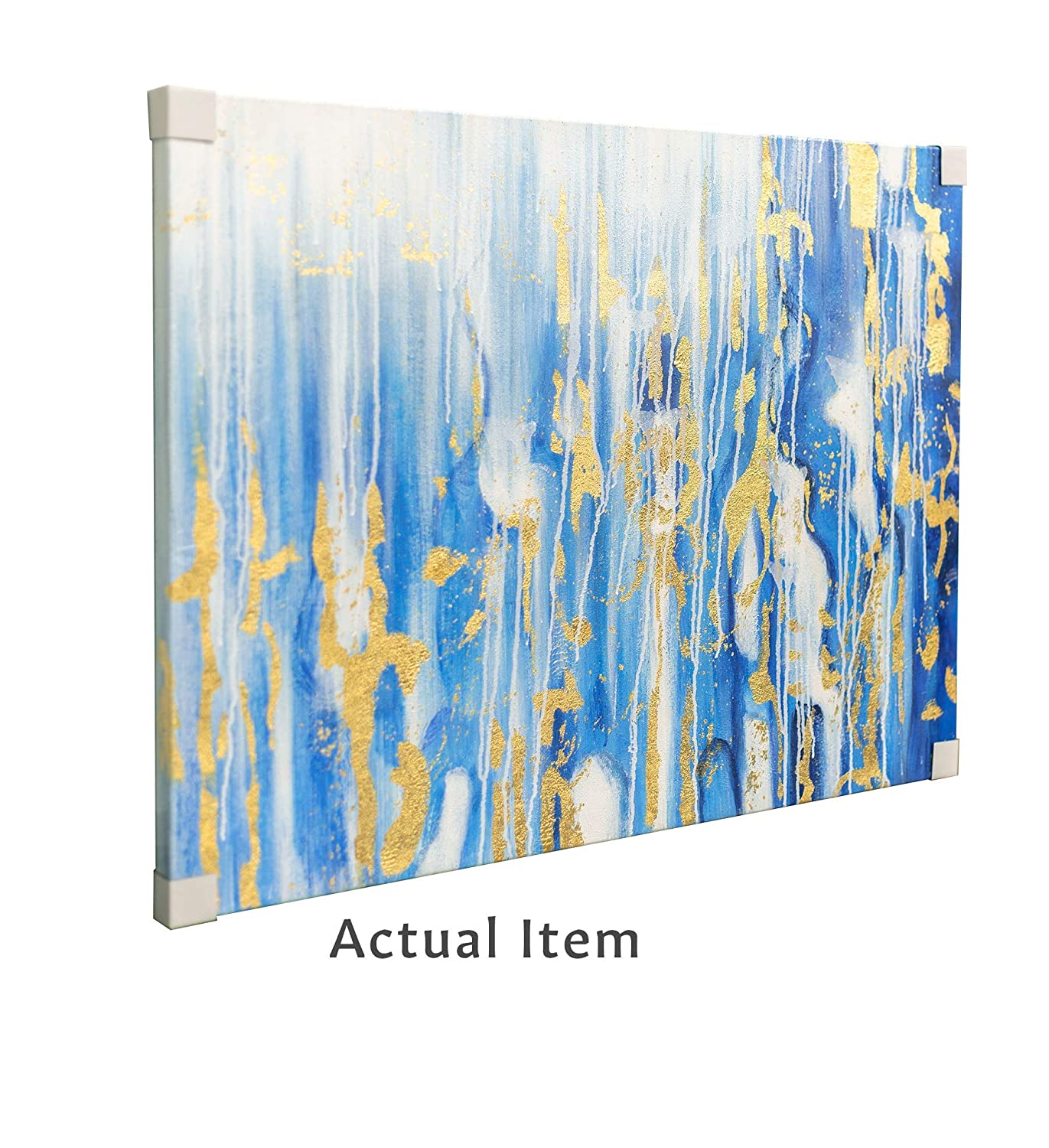 Ready to Hang Unframed 30x40 OAT ART STUDIO Blue Gold Foil Abstract Modern 100/% Hand Painted Oil Painting//Wall Art