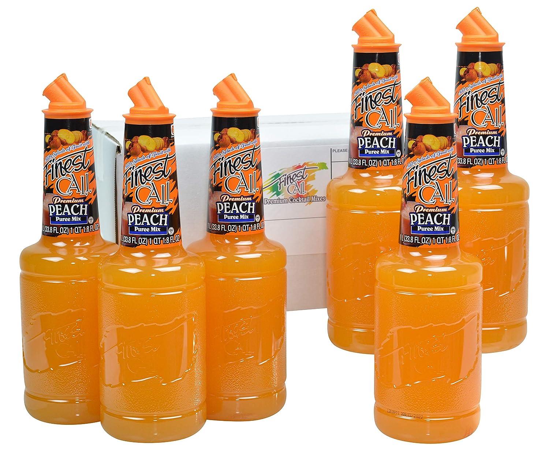 Finest Call Premium Peach Fruit Puree Drink Mix, 1 Liter Bottle (33.8 Fl Oz), Pack of 6