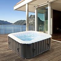 ECD Germany Opblaasbare Jacuzzi In-Outdoor voor 4 personen, 100 massage jets, 150x150 cm, 600 L, met extra accessoires…
