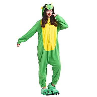 PALMFOX Womens Plush Warm and Cozy Green Dragon Animal Adult Onesie/Pajamas/Cosplay Costumes