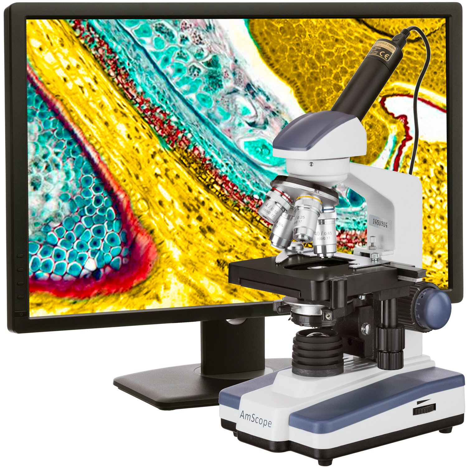AmScope M620C-E1 Digital Compound Monocular Microscope, WF10x and WF25x Eyepieces, 40x-2500x Magnification, Brightfield, LED Illumination, Abbe Condenser, Mechanical Stage, 110V, Includes 1.3MP Camera and Software by AmScope