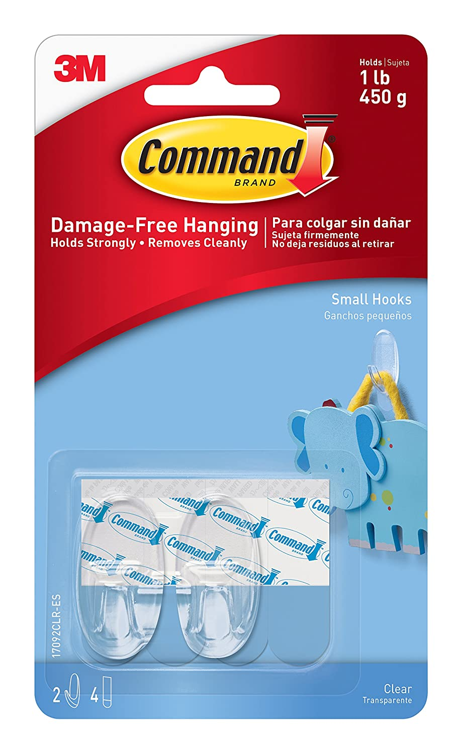 Command Small Hooks, Clear, 6-Hook, 2-Pack 17092CLR-VP-E