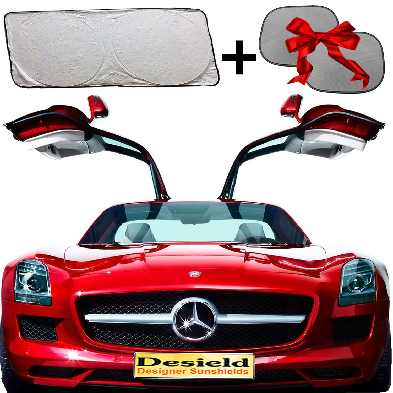 Premium Quality Solar Car Windshield Sunshade Sunshield Unbreakable TYVEK 2 FREE Bonus Side Shades Perfect for kids // Children Jumbo Size 60/'/' by 32/'/' Kingdom Holdings 99/% Sun Heat /& UV Rays Protection