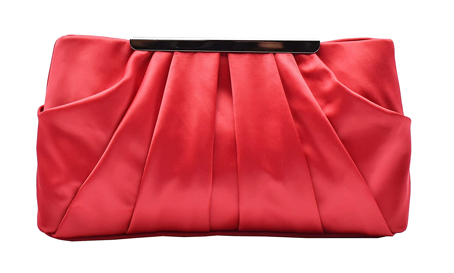 Womens Pleated Satin Evening Handbag Clutch With Detachable Chain Strap Wedding Cocktail Party Bag YH17002BE