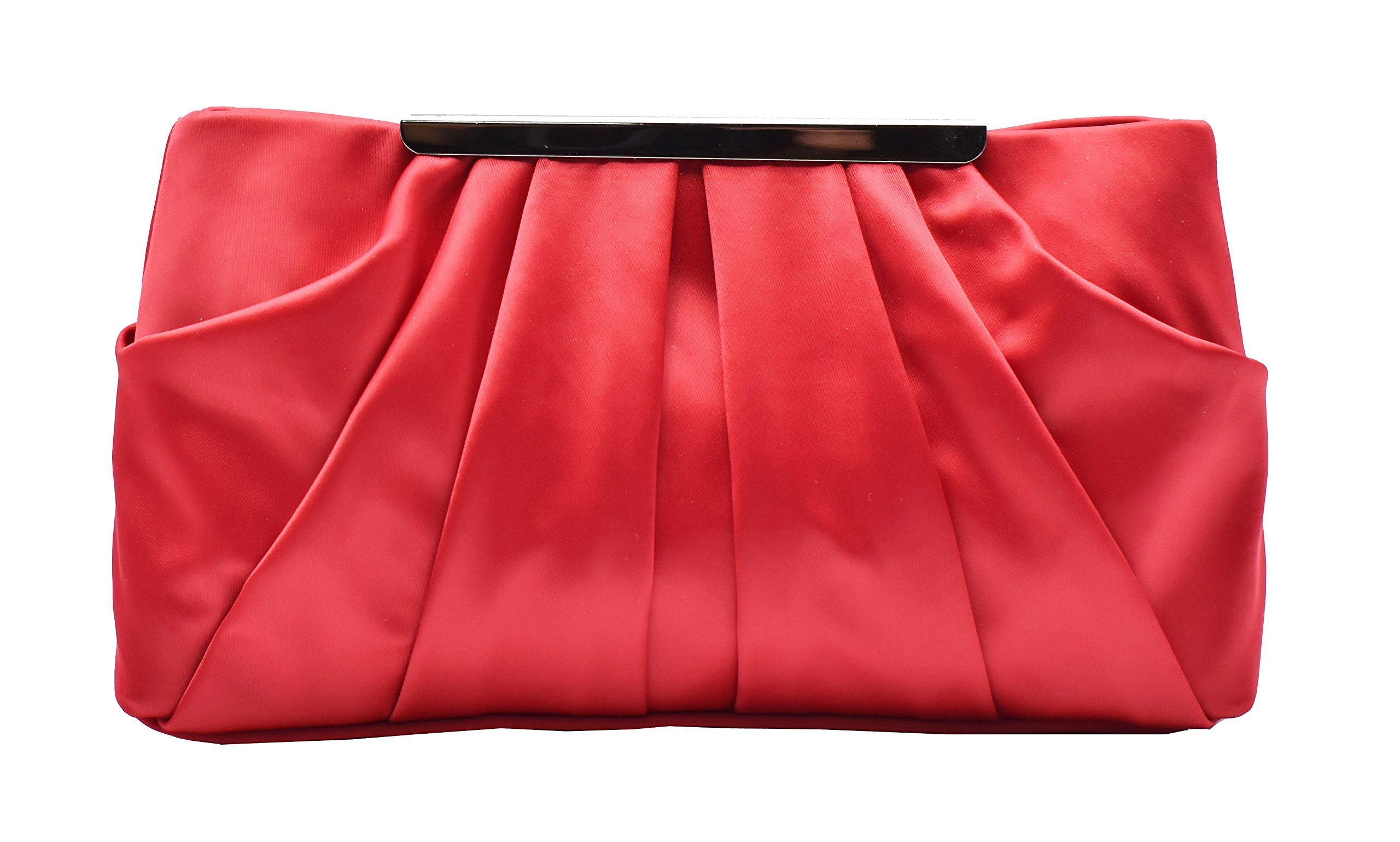 Womens Pleated Satin Evening Handbag Clutch With Detachable Chain Strap Wedding Cocktail Party Bag (Red) by expouch