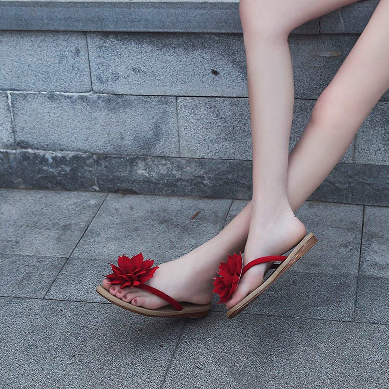 tthappy76 Color Women Fashion Summer Flower Flat Anti-Slip Slipper Beach Casual Shoes 35-41 Size,Black,41