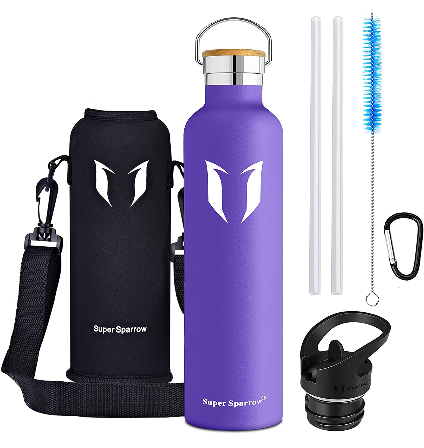 Standard Mouth Leak Proof Sports Bottle with 2 Exchangeable Caps Super Sparrow Water Bottle -1000ml Bottle Pouch Double Wall Vacuum Insulated Stainless Steel Bottle