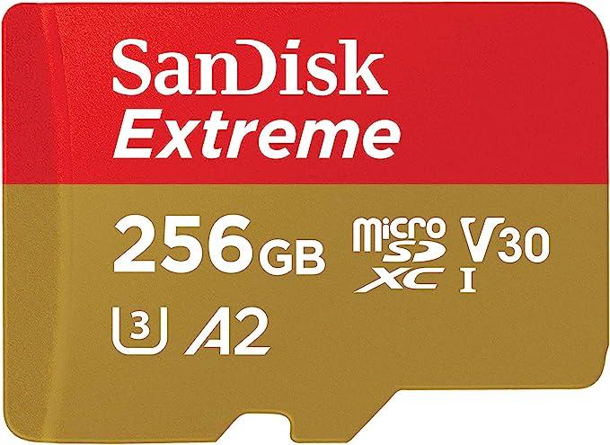 SanDisk 256 GB Extreme MicroSDXC UHS-I Memory Card - C10, U3, V30, 4K, A2, Micro SD - SDSQXA1-256G-GN6MN