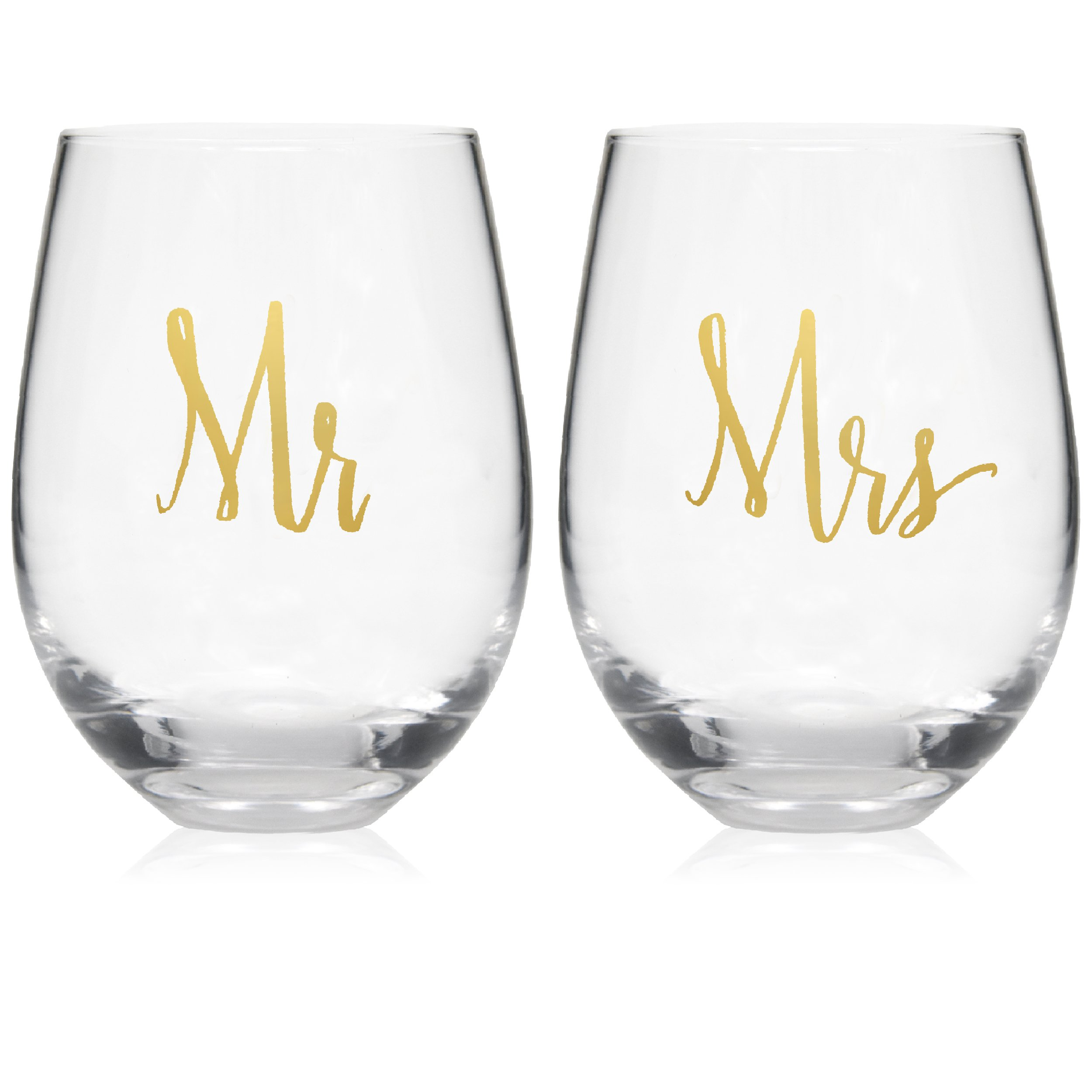 Mr and Mrs Stemless Wine Glasses Set of 2 for Married Couples, His & Hers, Wife & Husband, Bride & Groom, Engagement, Wedding and Anniversary Gifts & Presents; 20 Oz Coffee Cup Mugs by Gift Boutique