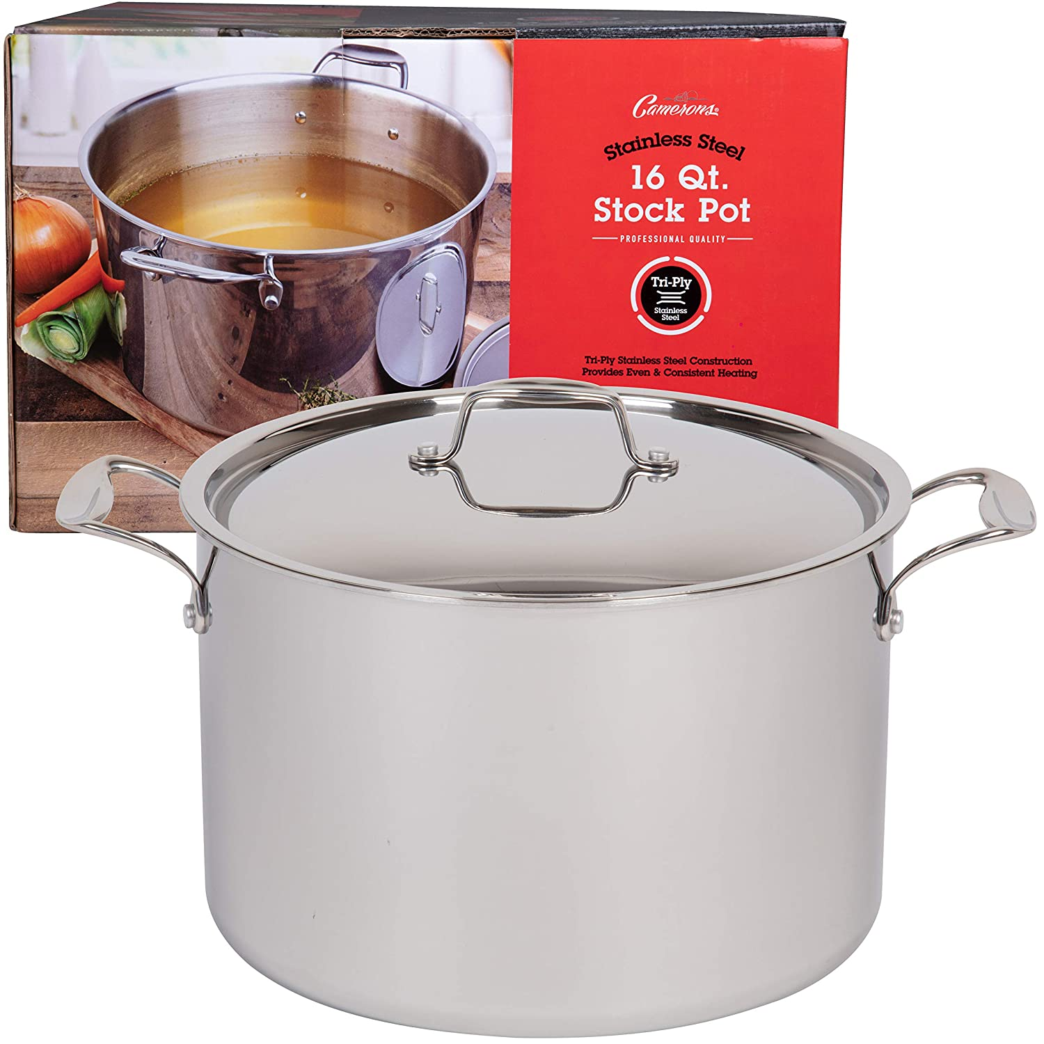 Camerons 16 Quart Stockpot Tri-Ply Stainless Steel Stock Pot Stay Cool Handles and Induction Compatible Commercial Grade Sauce Pot for Canning w Stick Resistant Interior