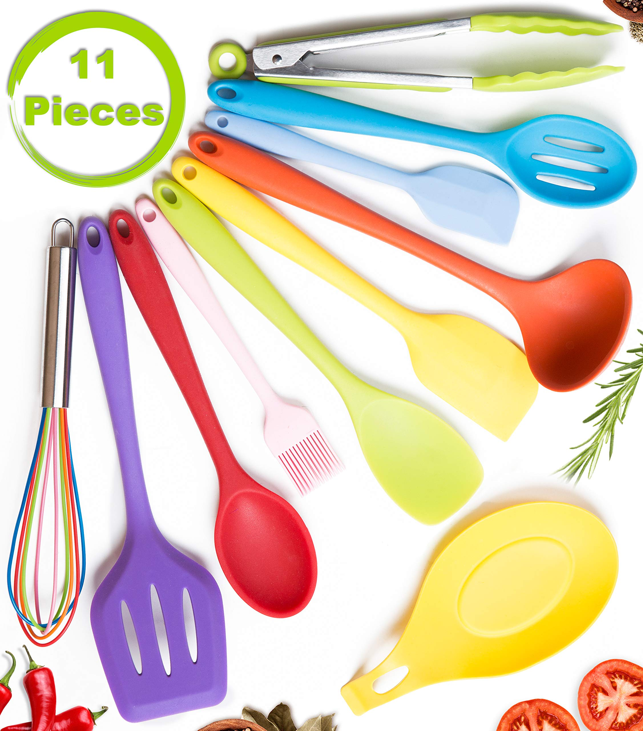 11pc Silicone Kitchen Utensil Set by CuisineFacets Colorful Cooking Utensils with Spatula, Serving Tools, Accessories and FREE Spoon Rest - Heat Resistant Spatulas and Spoons for Non-Stick Cookware 1 ✅11PC incl. FREE SPOON REST: Imagine how many colorful food creations you can now unleash all at once, because your utensil set includes everything! Silicone Wisk, Pastry Brush, 2x Spatulas, Slotted Spoon, Salad Spoon, Food Tong, All-Purpose Spoon, large Ladle, Slotted Turner, and BONUS Spoon Rest. ✅HEAT RESISTANT & EASY TO CLEAN: From the Rainbow Whisk to the Pink Pastry Brush, just pop your silicone kitchen utensils in the dishwasher to clean. Everything is made from FDA Compliant Food Grade Silicone and can withstand temperatures up to 446°F... like steaming hot pasta, pumpkin soup or pancakes. ✅WHAT'S YOUR FAVE? If you're like most people, there are always 1 or 2 kitchen tools you love the most. And if you're like us, it could even be because of color. Either way, our Cheery Utensils Set from CuisineFacets gives you the best of both - your favorite non-stick kitchen utensils, in your favorite colors too.