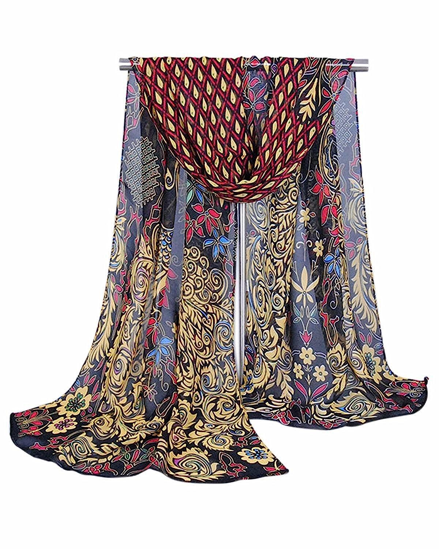 Shawls & Wraps | Vintage Lace & Fur Evening Scarves Fortunings JDS Peacock Long Soft Shawl Silk Chiffon Scarf for Women $6.57 AT vintagedancer.com