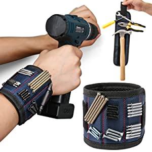 Magnetic Wristband for Holding Screws Nails Drill Bits, Wrist Magnet Magnetic Tool Belt Magnetic Nail Holder with Strong Magnets, Best Unique Tool Gifts for Men,DIY Handyman,Father/Dad, Husband