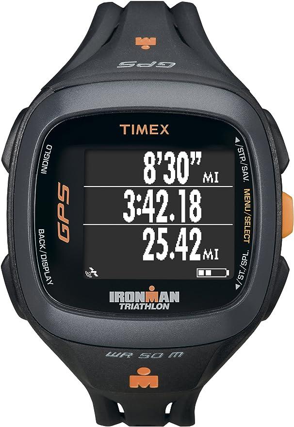 2104daa3d328 Amazon.com  Timex Unisex T5K744 Ironman Run Trainer 2.0 GPS Speed+Distance  Black Orange Watch  Sports   Outdoors