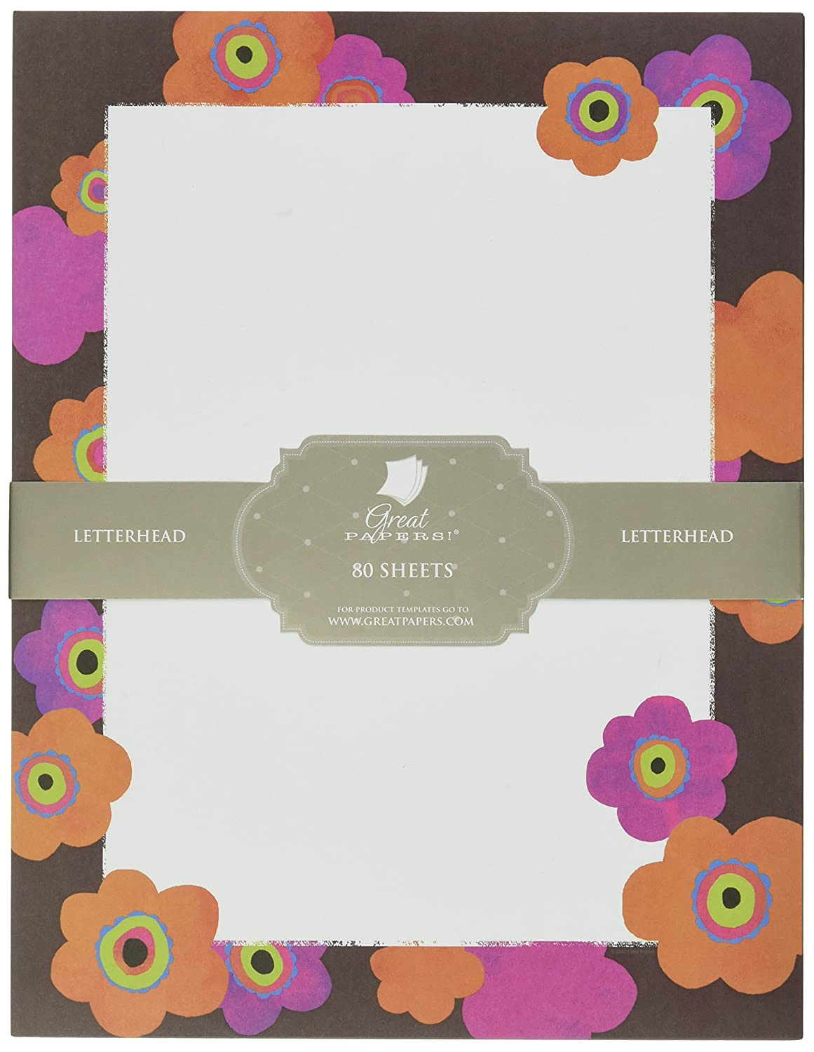 Great Papers 8.5x11 2014333 Bright Floral Letterhead 80 Count
