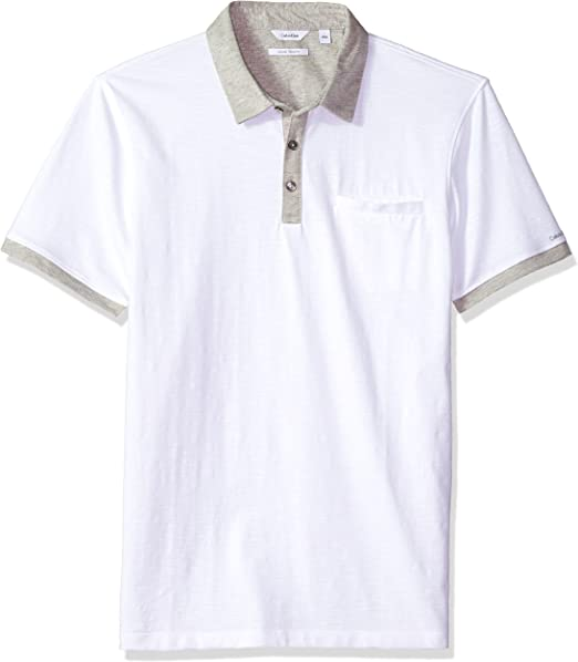 Calvin Klein Hombre 40I6111 Manga Corta Camisa Polo - Blanco - X ...