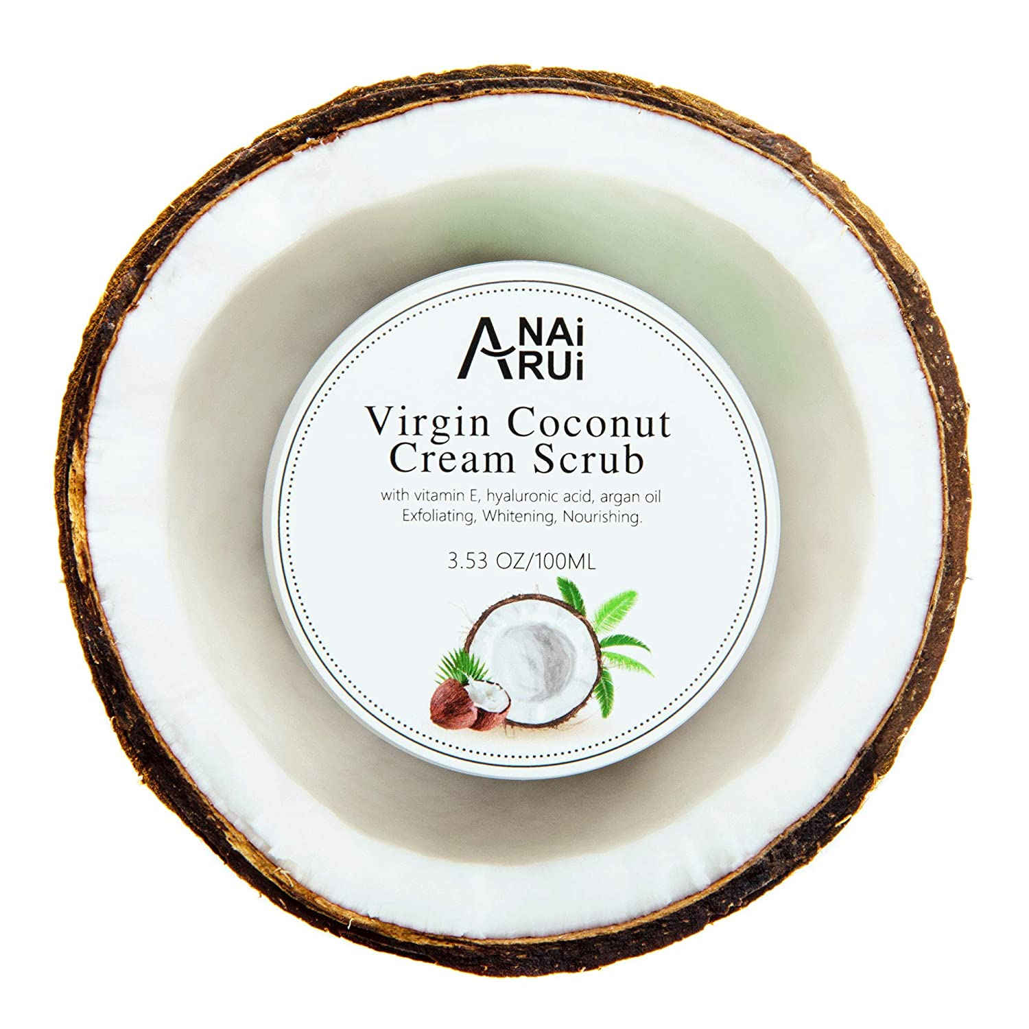 ANAIRUI - Natural Premium Coconut face Cream Scrub with Vitamin E, Hyaluronic Acid, Argan Oil. Ultra Moisturizing, Whitening and Exfoliating, Cleansing Pilling.