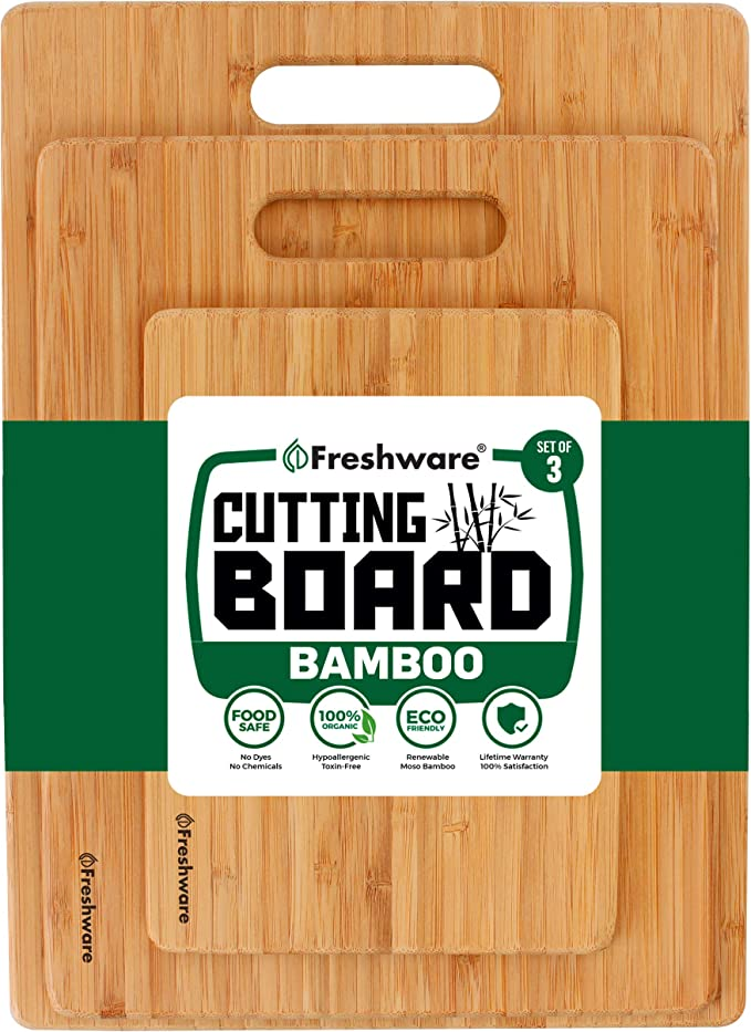 Bamboo Cutting Boards For Kitchen Set Of 3 Wood Cutting Board For Chopping Meat Vegetables Fruits Cheese Knife Friendly Serving Tray With Handles Kitchen Dining Amazon Com