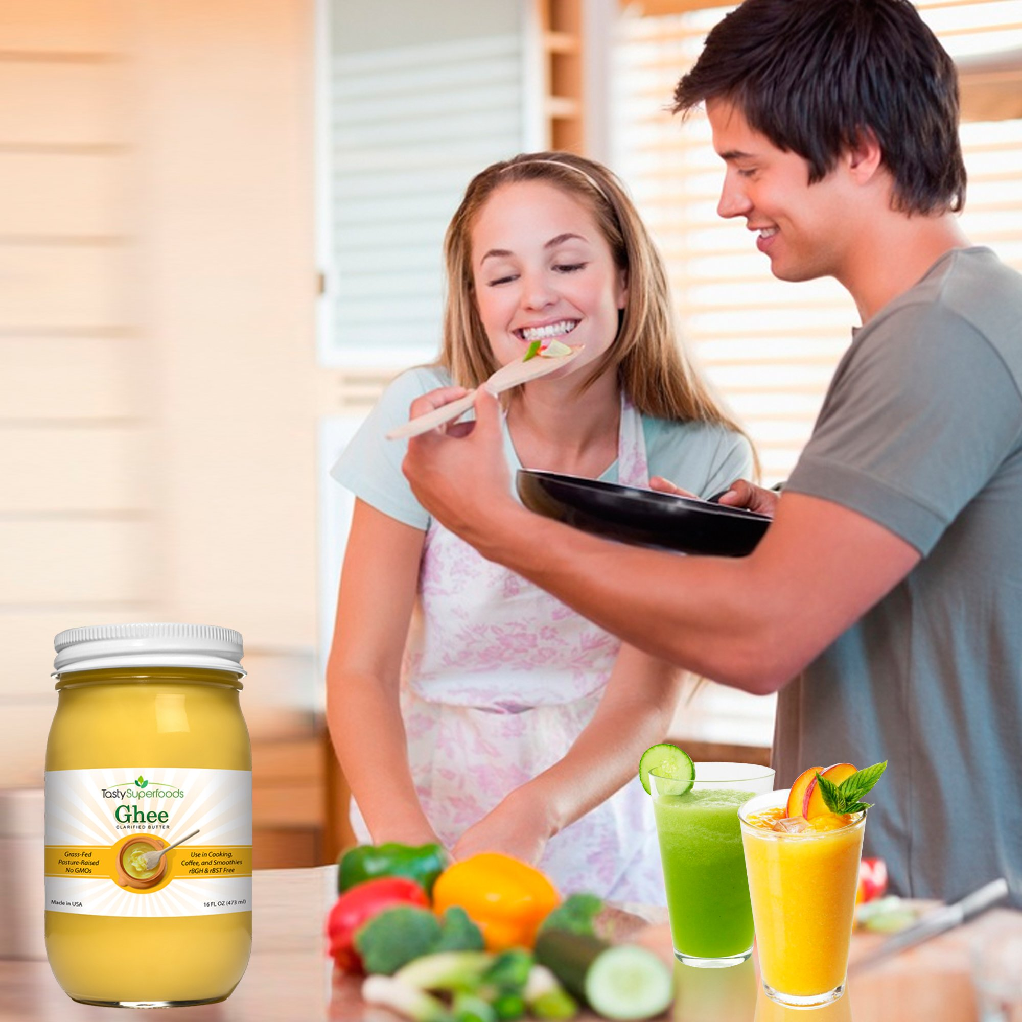 Tasty Superfoods Grass Fed Organic Ghee - Glass Jar of Pure, Unsalted Clarified Butter from Grass-Fed Cows - Best Healthy Oil for Indian Cooking, in Coffee, or for diets like Paleo and Whole30 (16oz) by Tasty Superfoods (Image #6)