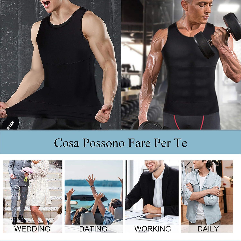 Chumian Maglietta Compressione Uomo Canotta Contenitiva Snellente Intimo Modellante Dimagrante Fascia Pancia Sportivo Fitness Canottiera