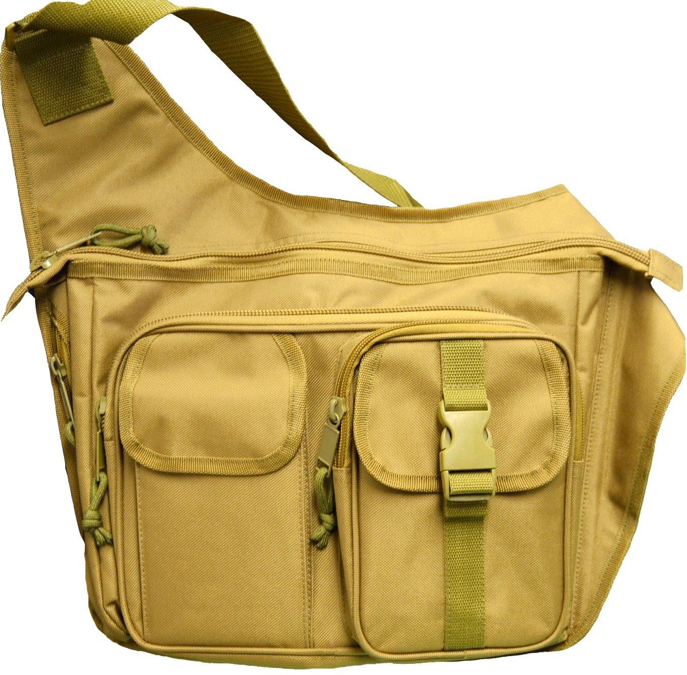 Explorer Tactical Concealed Carry Crossbody Shoulder Messenger Bag Black AM24bk