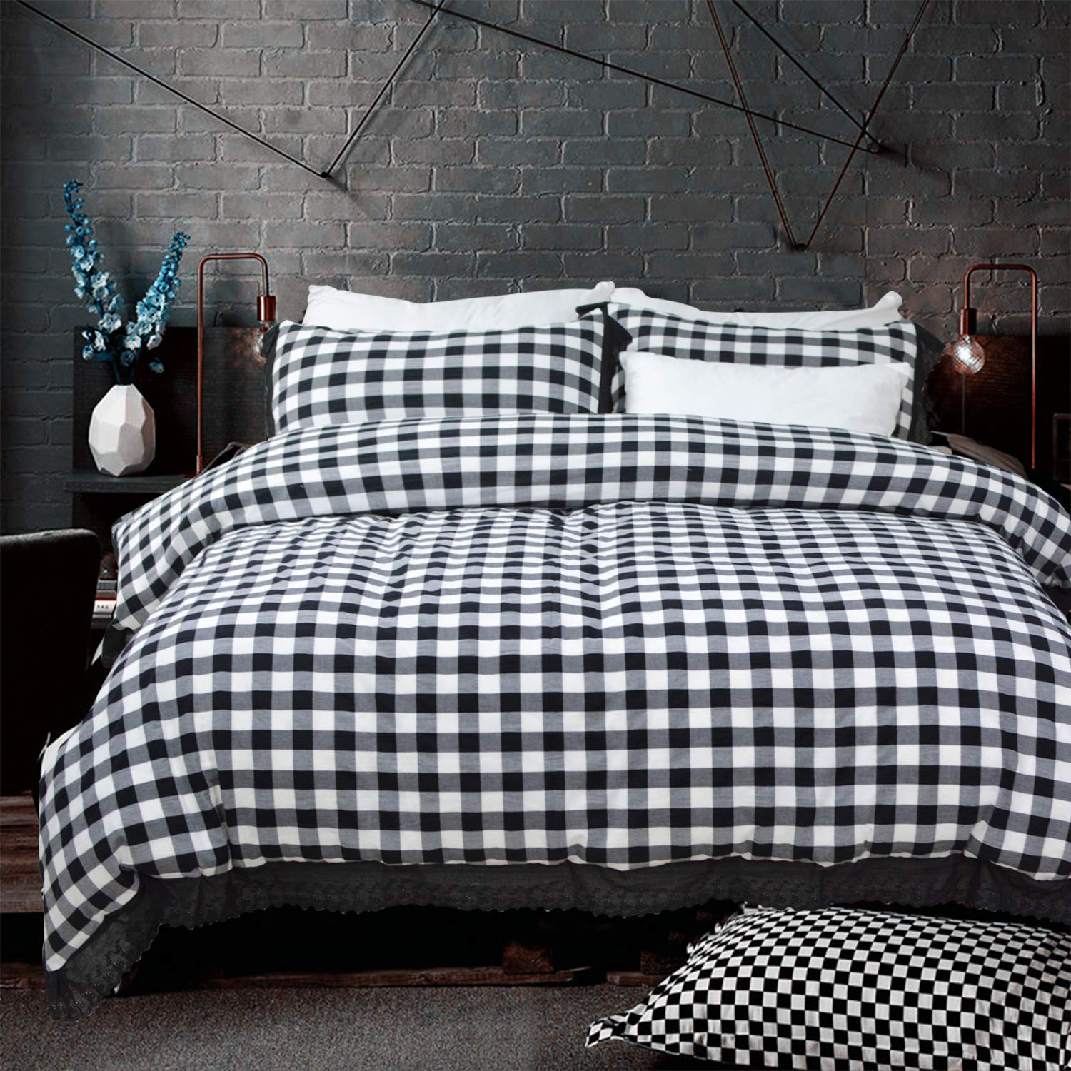 Softta Duvet Cover King Bedding Set Black and White Buffalo Plaid Bed Set Vintage Ruffle Check Grid Geometric 100% Washed Cotton with Zipper Ties 1 Duvet Cover + 2 Pillow Shams