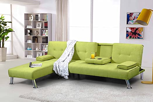 New York 3 4 Seater Corner L Shaped Fabric Sofa Bed & Chaise