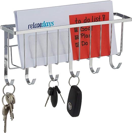 Relaxdays Colgador Llaves Pared con Soporte para Cartas, 6 Ganchos, Organizador, Metal, 1 Ud, 12 x 27 x 6 cm, Plateado: Amazon.es: Juguetes y juegos