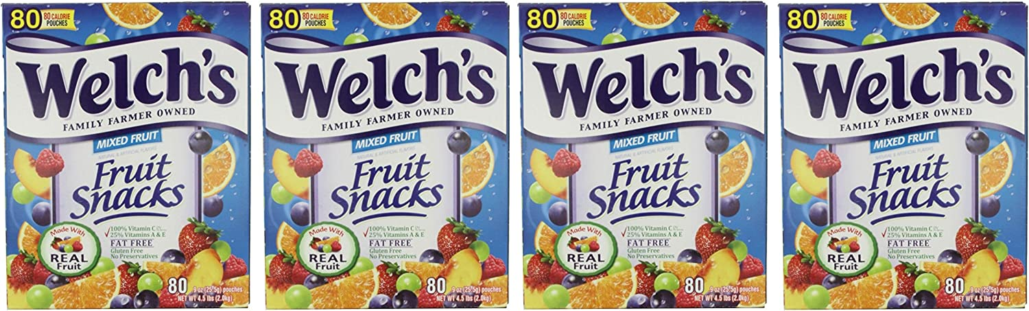 Welch's Fruit Snacks Mixed Fruit Fat Free Snacks, 4 Pack (80 Count Pouches)