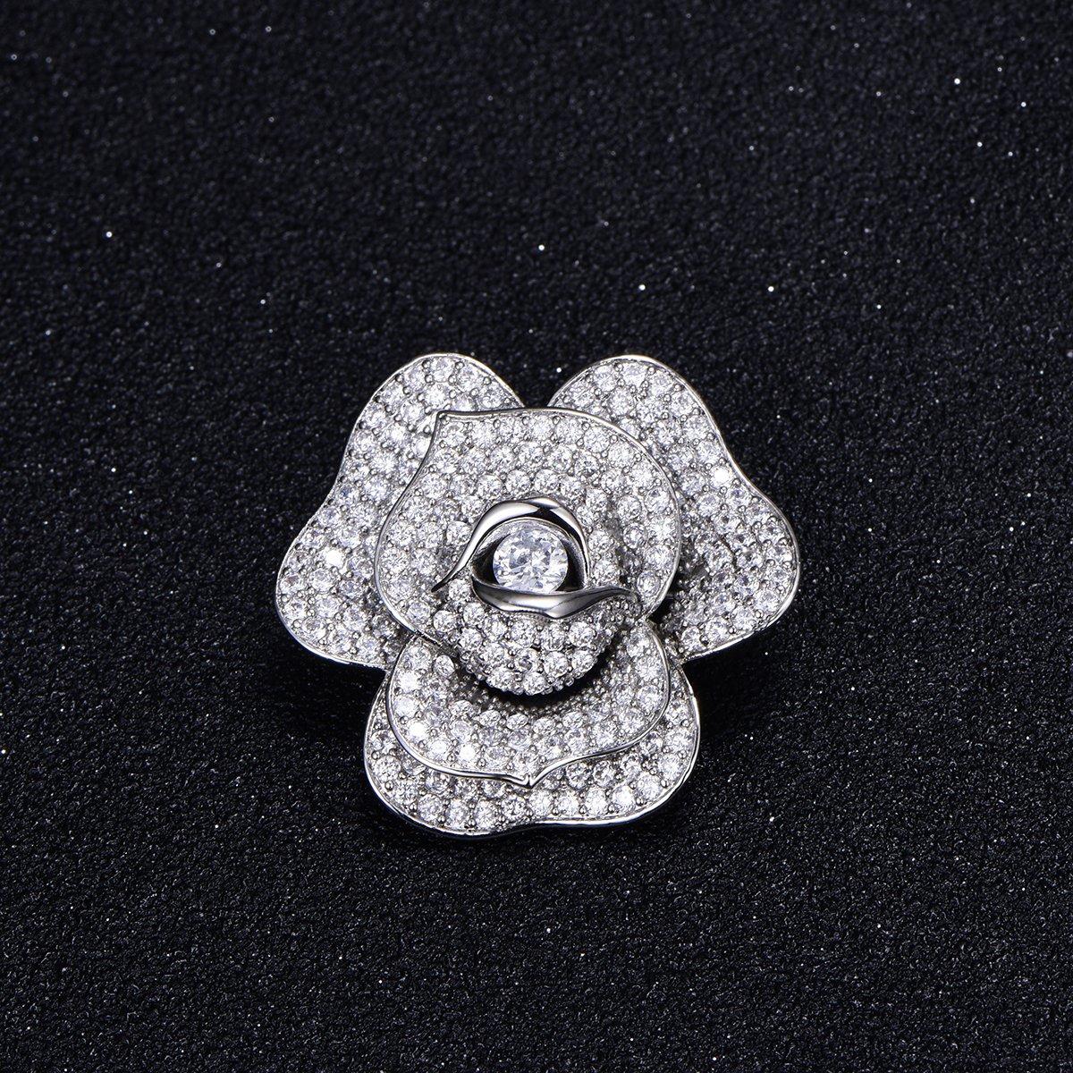 Flower Brooch Pins for Women,Dazzling Rhinestone Brooch for Brides Copper Vintage Crystal Brooch Girls CZ Brooch for Wedding,Party (Silver Plated Flower Brooch) by YOYOMA (Image #2)