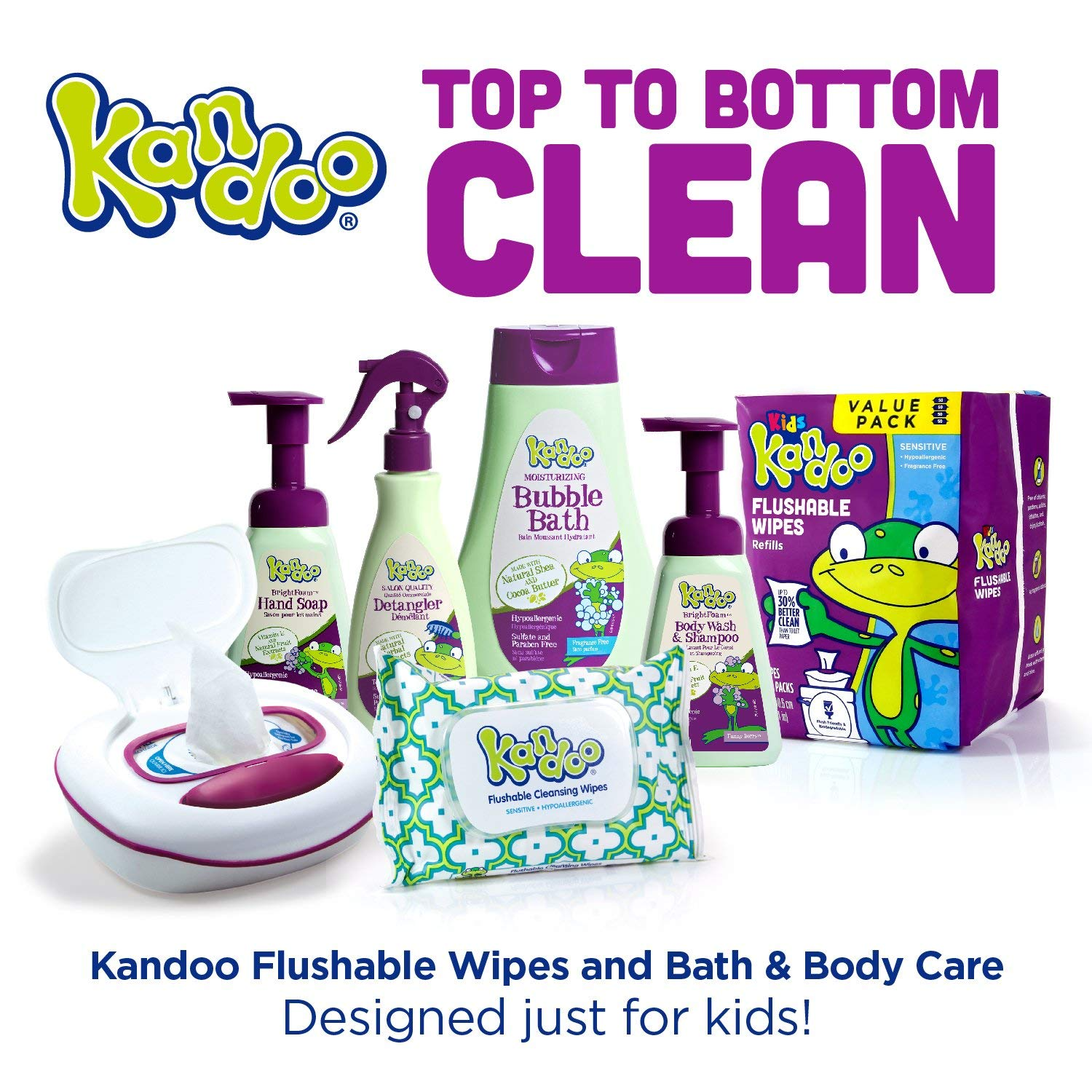 Flushable Baby Wipes for Kids, Sensitive by Kandoo, Hypoallergenic Potty Training Wet Cleansing Cloths Refills, Unscented, 250 Count per Pack, Pack of 4 by Kandoo (Image #7)