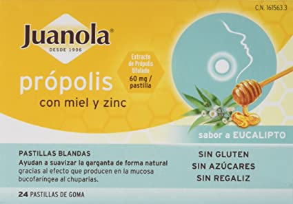 Juanola, Própolis con miel y zinc, 24 comprimidos