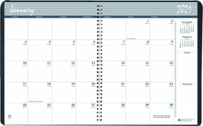 Blue Cover HOD27207-16 8.5 x 11 Professional House of Doolittle 2016 Weekly Planner Calendar