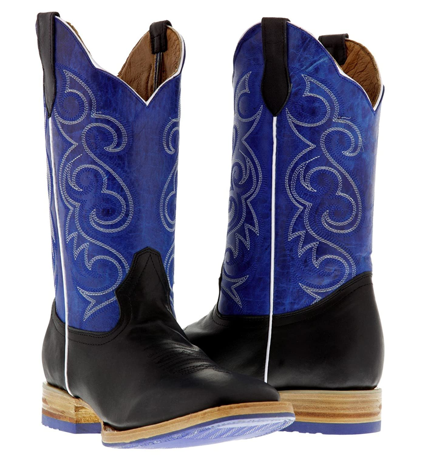 Texas Legacy - Men's Black & Blue Two Tone Western Leather Cowboy Boot Square Toe