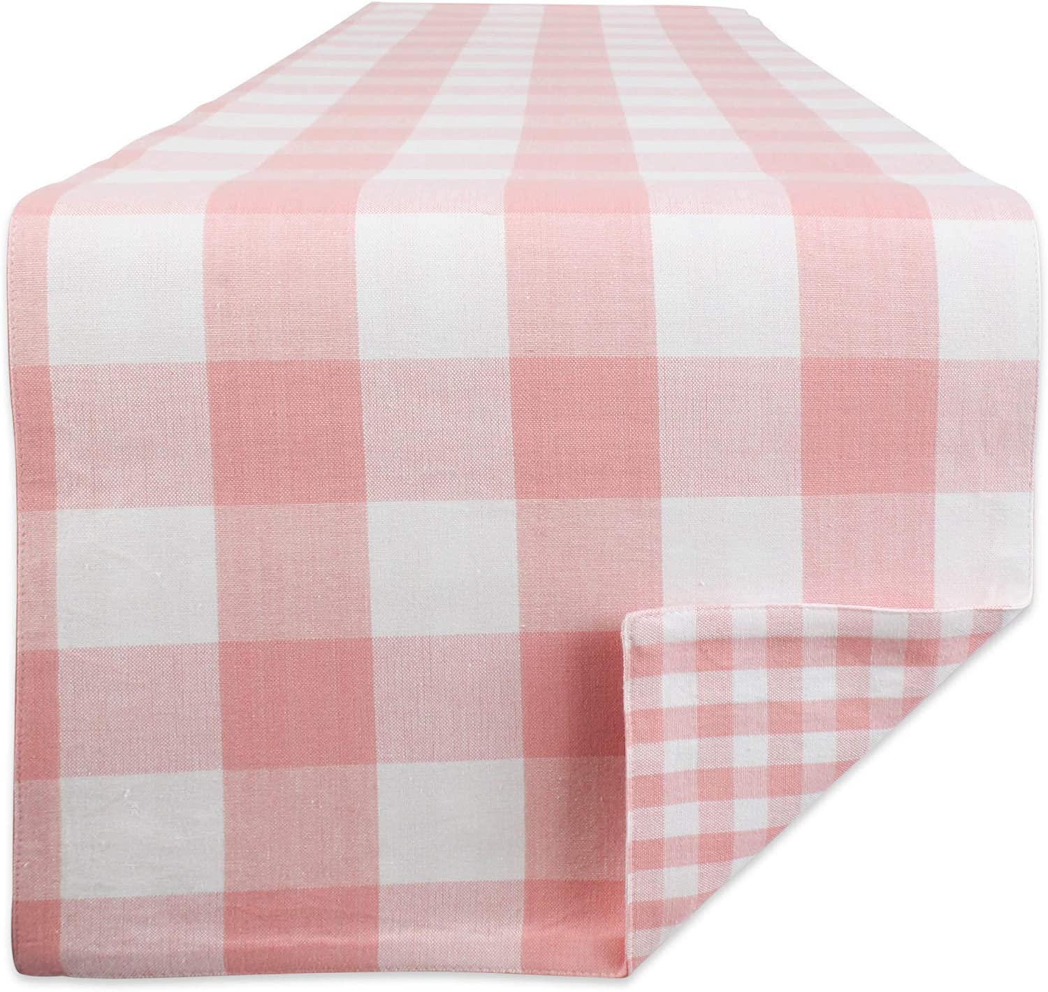 DII 100% Cotton Gingham Check Table Top Collection, Runner, 14x72, Pink