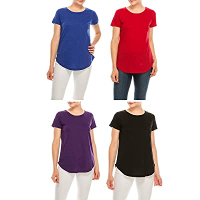 Urban Diction Pack of 4 Women's Essential Solid Colors Basic Scoop Neck Tees at Women's Clothing store
