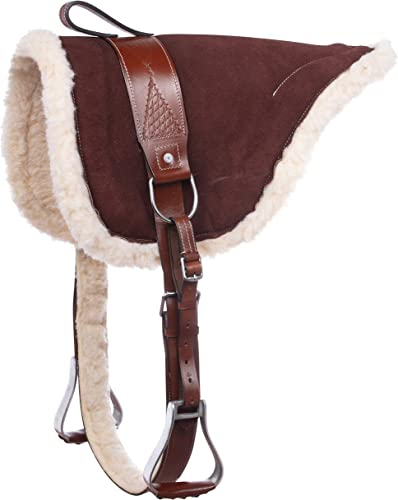 Acerugs Western English Horse Leather Bareback PAD TREELESS Saddle Girth Cinch Stirrups Included Natural Horsemanship Ride