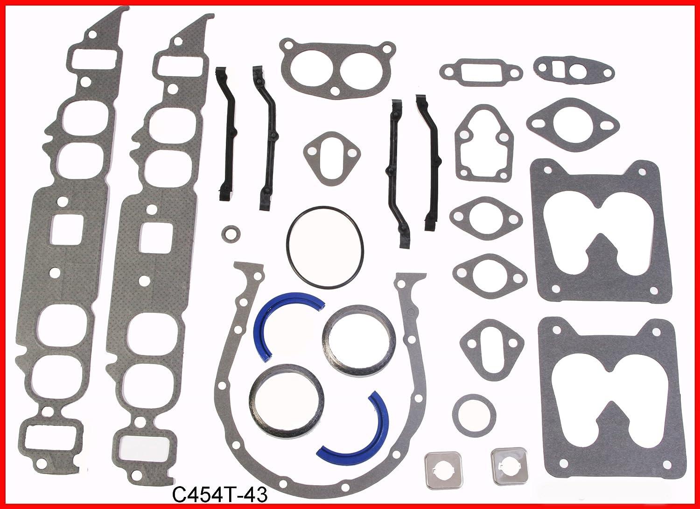1980-1990 Chevrolet BBC 454 7.4L OHV V8 Engine Full Gasket Set Rings Bearings FITS