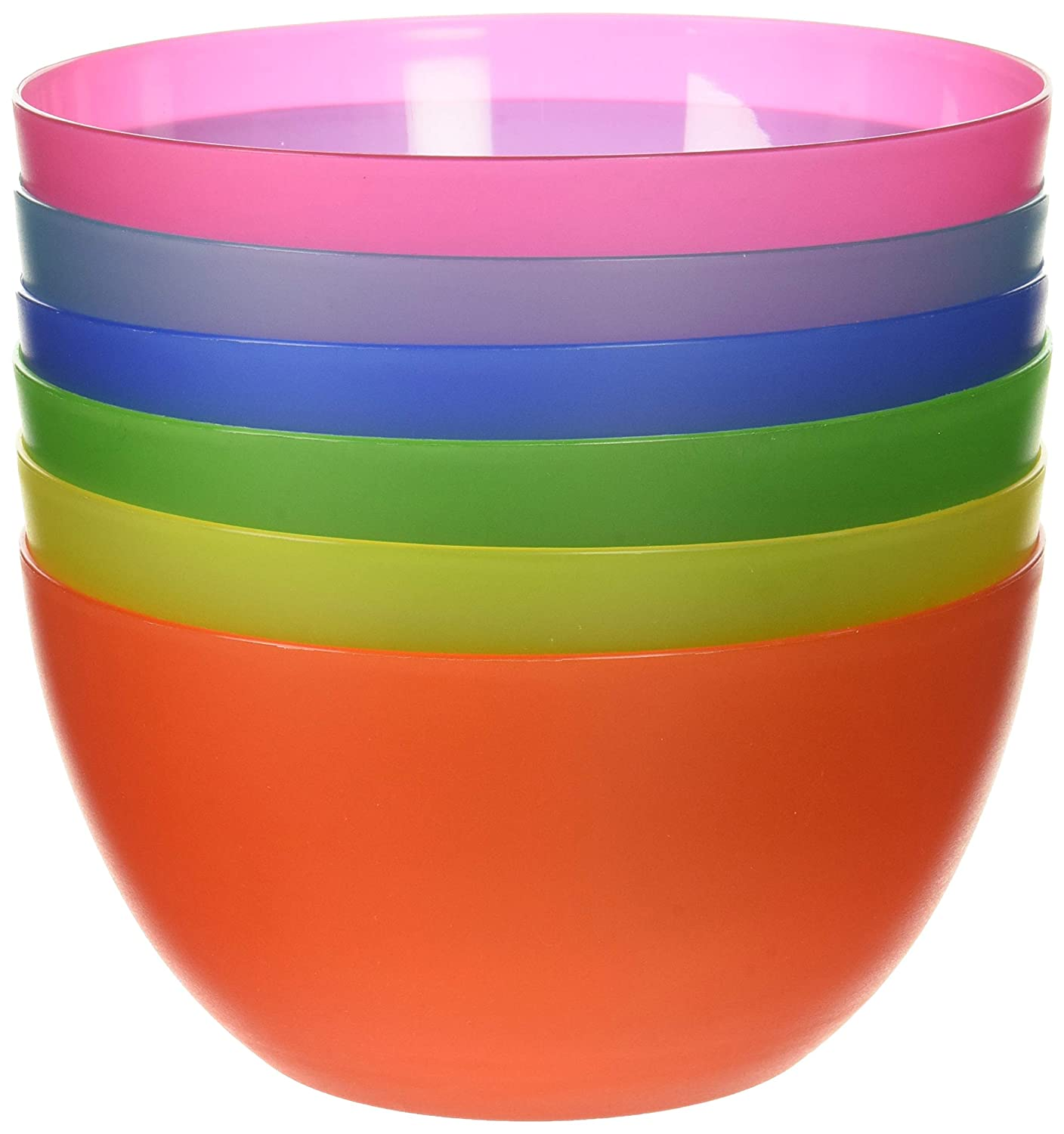 6 Pc Fun Multi-Colored BPA-Free Bowls - Cereal Fruit or Soup Bowl Imperial Home MW1912