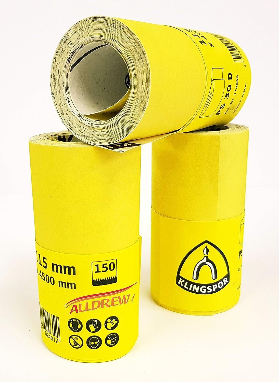 180 Grit Sanding Roll Sandpaper 115mm x 4.5m GRIT 40-180 Aluminium Oxide Decorators Paper