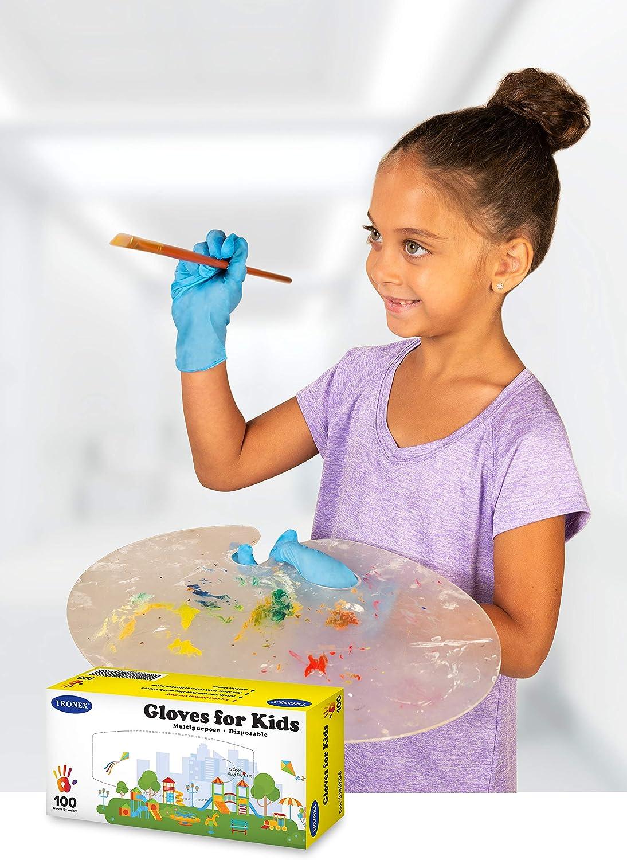 Tronex Kids Nitrile Disposable Gloves for 6-12 Years, Food Safe, Multipurpose, Fingertip-Textured, Powder-Free