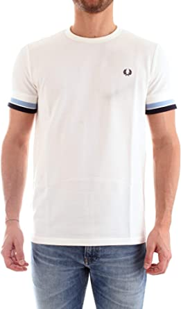 Fred Perry Hombres Camiseta con Punta audaz m6513 129 L Blanco ...