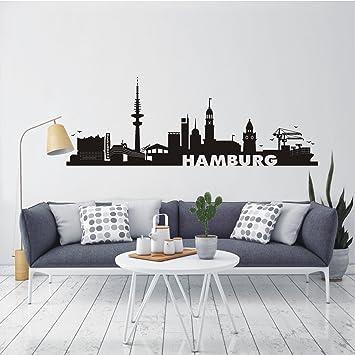 HomeTattoo R WANDTATTOO Wandaufkleber Skyline Hamburg Stadt Wohnzimmer Flur City 583 XL L X B