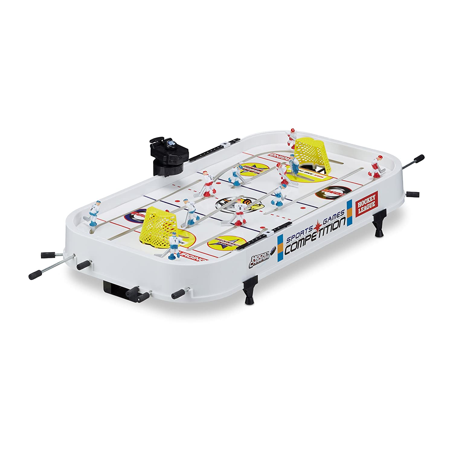 Relaxdays Mini Table Air Hockey mini hockey glace enfants jeu petite table adulte lxP: 60 x 31 cm, blanc 10021732