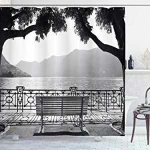 """Ambesonne Grey Shower Curtain, Romantic Scenery with a Bench by The Lake Outdoors Trees Empty Park View Mountain Range, Cloth Fabric Bathroom Decor Set with Hooks, 70"""" Long, Grey"""