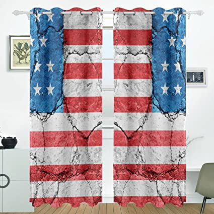 JSTEL United States Of America Flag Curtains Drapes Panels Darkening Blackout Grommet Room Divider for Patio